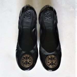 Tory Burch black patent leather gold Caroline flat